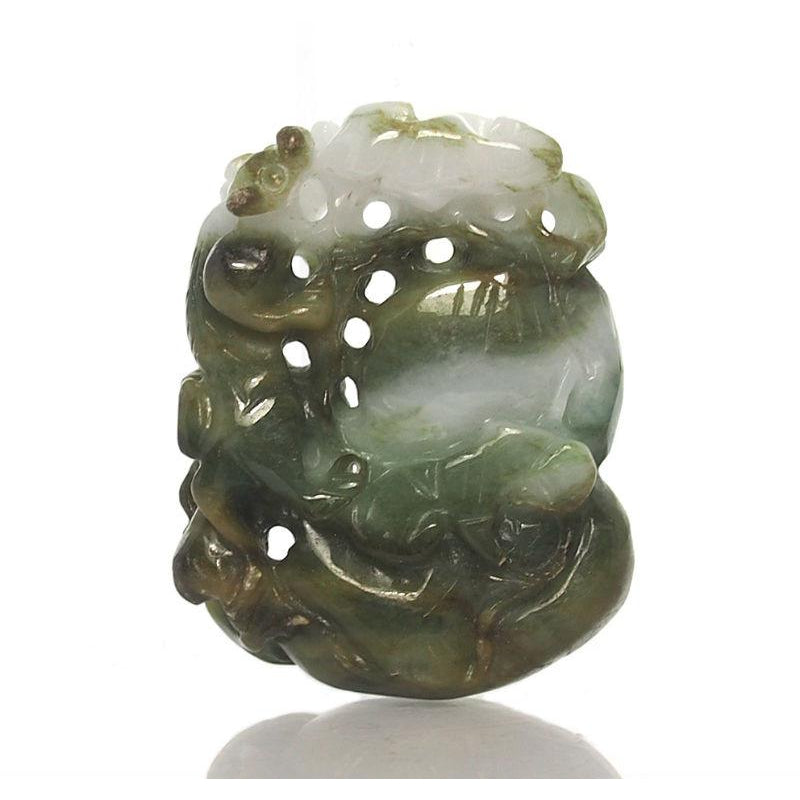 Jade Protective Health Bottle Gourd Pendant with Guardian Animal