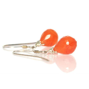 Carnelian Earrings with Sterling Silver French Ear Wires