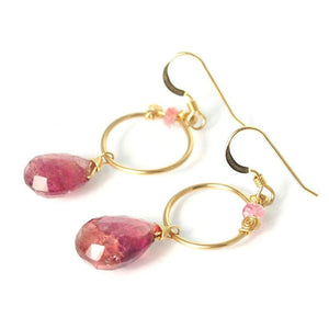 Pink Tourmaline Earrings with Gold Filled French Ear Wires