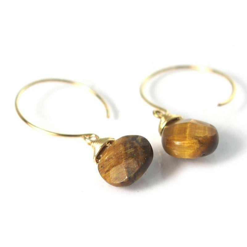 Tiger's Eye Earrings with Gold Filled Ear Wires
