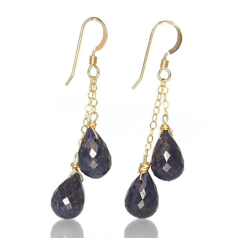 Sapphire Earrings with Gold Filled Earwires