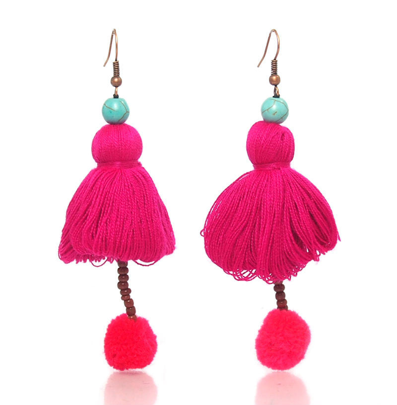 Hill Tribe Tassel Earrings, C