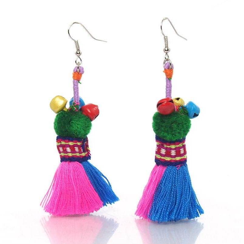 Hill Tribe Tassel Earrings, D