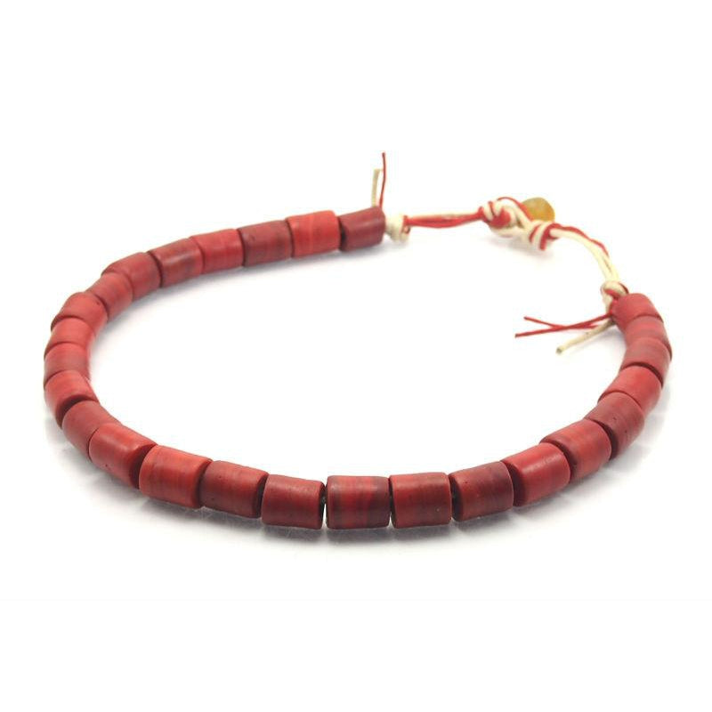 Vintage Naga Glass Beads Strand, Red