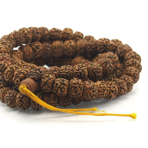 Smooth Orange 14mm Rudraksha Mala