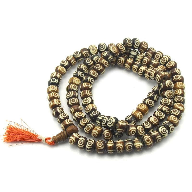 "Carved ""Eye"" Cow Bone Mala"