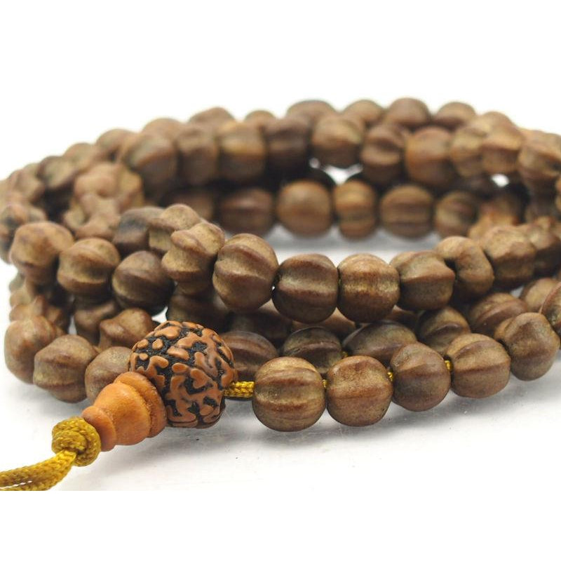 Wooden Carved Melon Mala 8mm