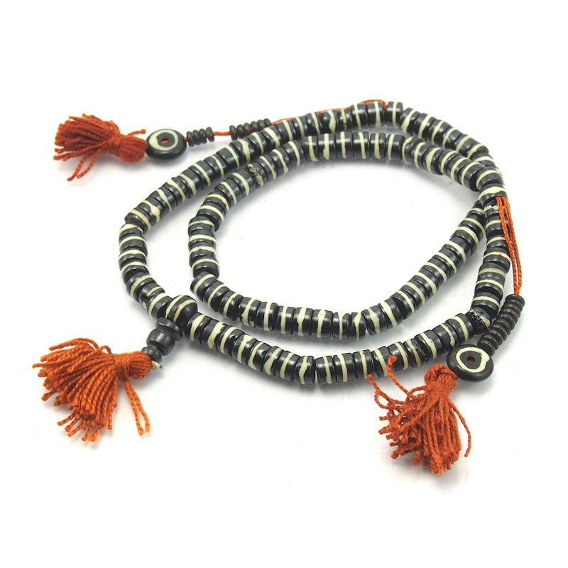 Striped Yak Bone Mala 8mm
