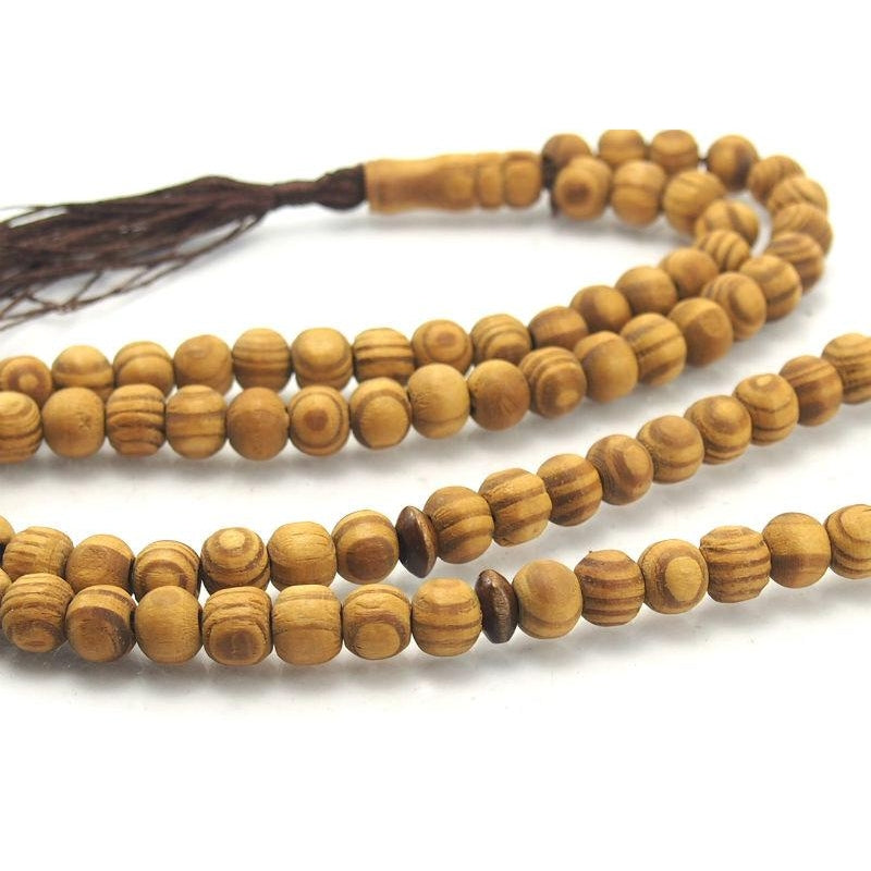 Striped Wood (Olive Wood) Misbaha/Tesbih/Mala 8mm