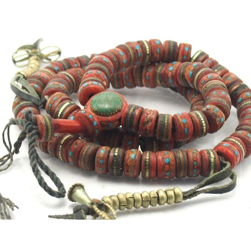 Inlaid Red Cow Bone Mala Lg. 7mmx13mm