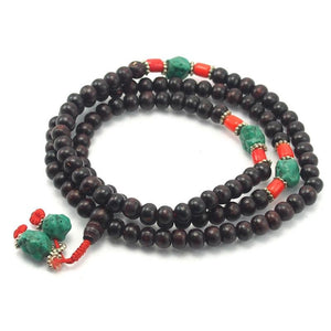 8mm Chinese Pine Mala with Stabilized Turquoise and Glass Spacers