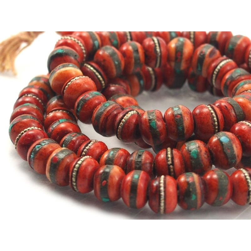 Tibetan Inlaid Cow Bone Mala Red 10mm