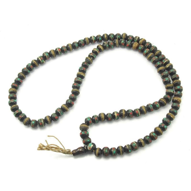 Tibetan Inlaid Cow Bone Mala Chocolate 10mm