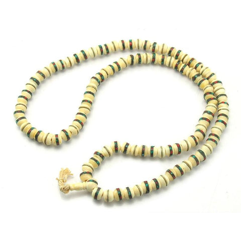 Tibetan Inlaid Cow Bone White Mala 10mm