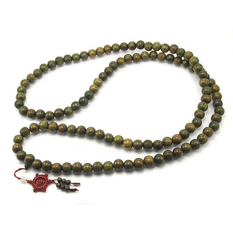 Chinese Green Sandalwood Mala 14mm