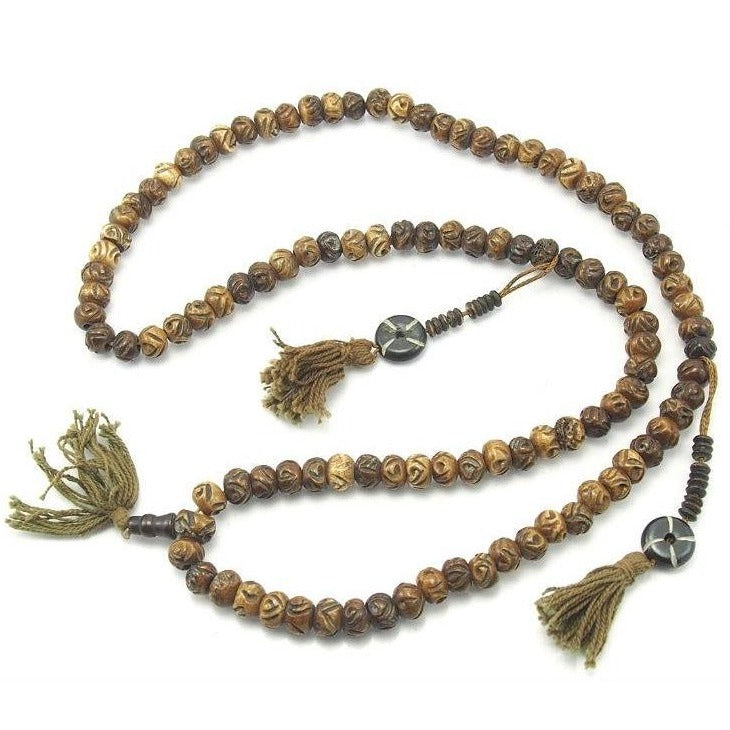 Fine Hand Carved Cow Bone Mala 10mm