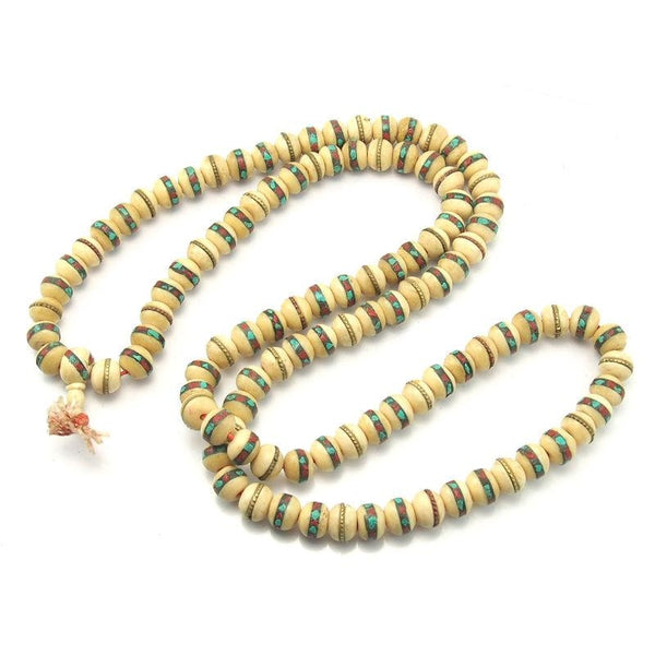 Tibetan Inlaid Cow Bone Mala 14mm