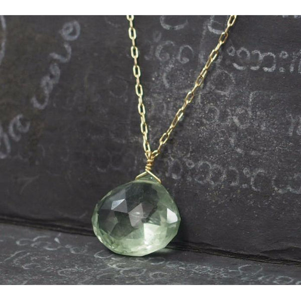 Green Amethyst Necklace On Gold Filled Chain With Gold Filled Spring Clasp