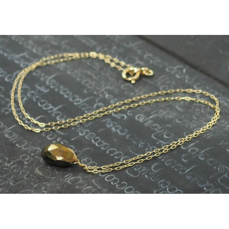 Pyrite Necklace On Gold Filled Chain With Gold Filled Spring Clasp