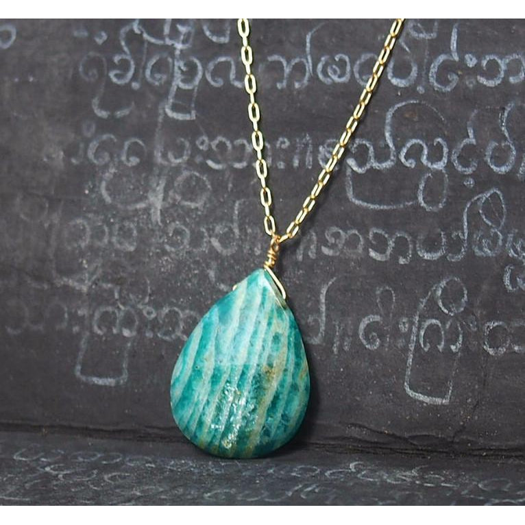 Amazonite Necklace on Gold Filled Chain With Gold Filled Spring Clasp