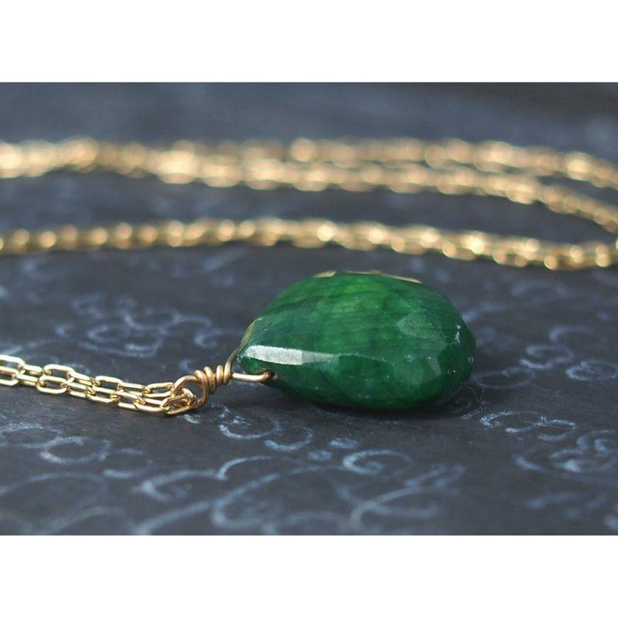 Emerald Necklace On Gold Filled Chain With Gold Filled Spring Clasp 2