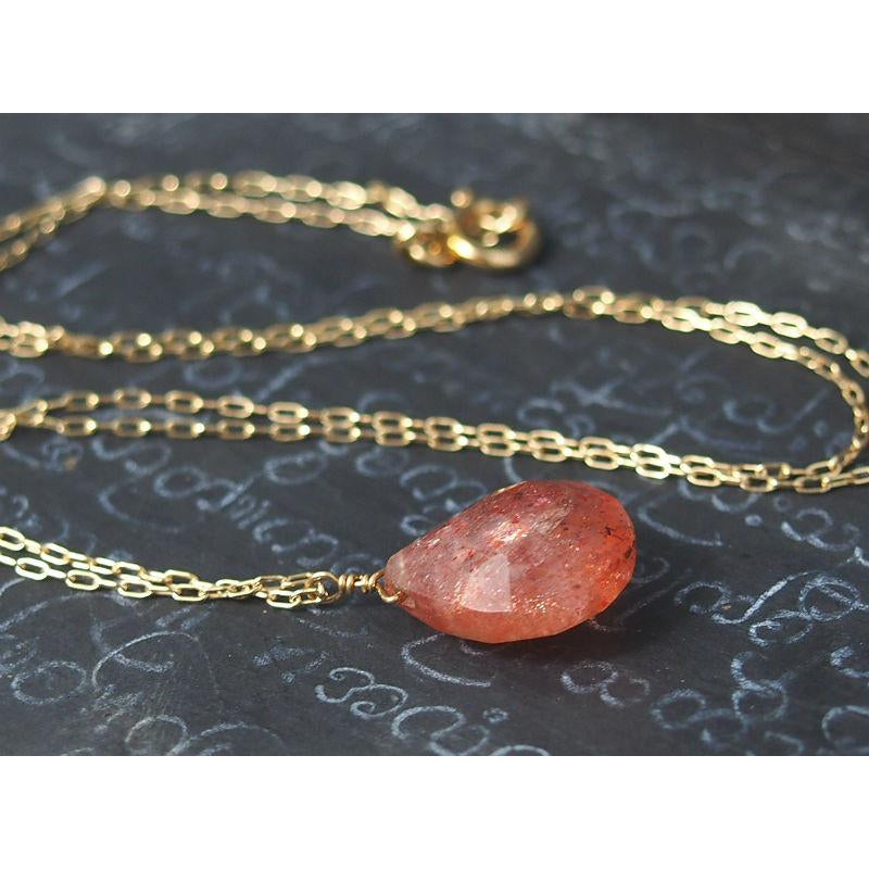 Sunstone Necklace On Gold Filled Chain With Gold Filled Spring Clasp 2