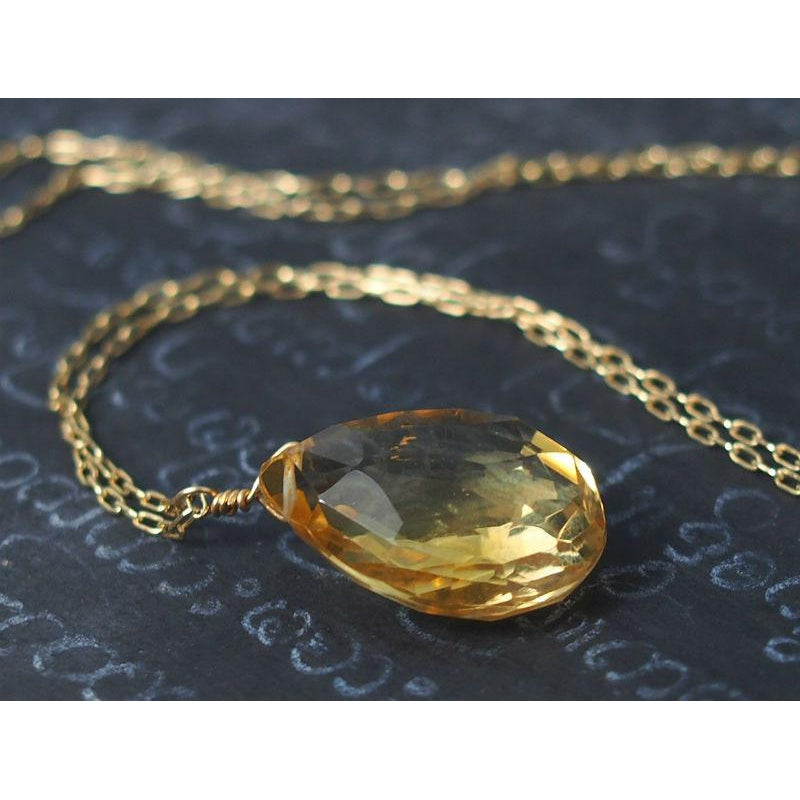 Citrine Necklace on Gold Filled Chain With Gold Filled Spring Clasp
