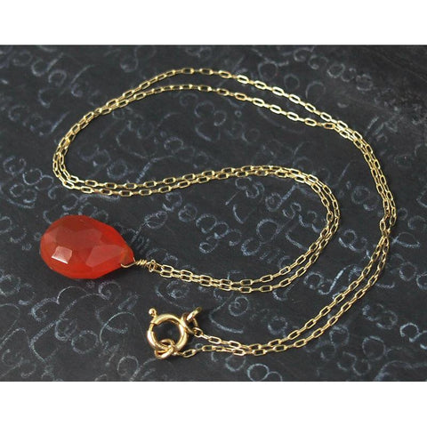 Carnelian Necklace on Gold Filled Chain With Gold Filled Clasp 2