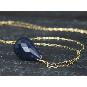 Sapphire Necklace On Gold Filled Chain With Gold Filled Spring Clasp 2