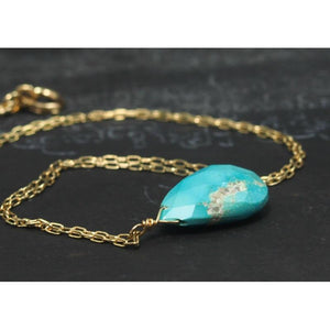 Turquoise Necklace On Gold Filled Chain With Gold Filled Spring Clasp