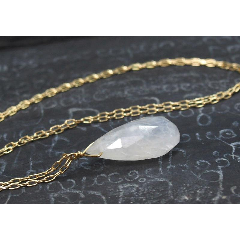 Moonstone Necklace On Gold Filled Chain With Gold Filled Spring Clasp