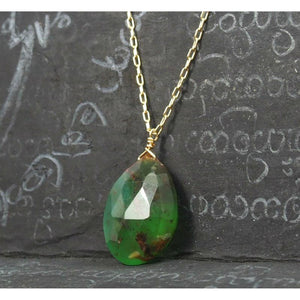 Chrysoprase Necklace On Gold Filled Chain With Gold Filled Spring Clasp