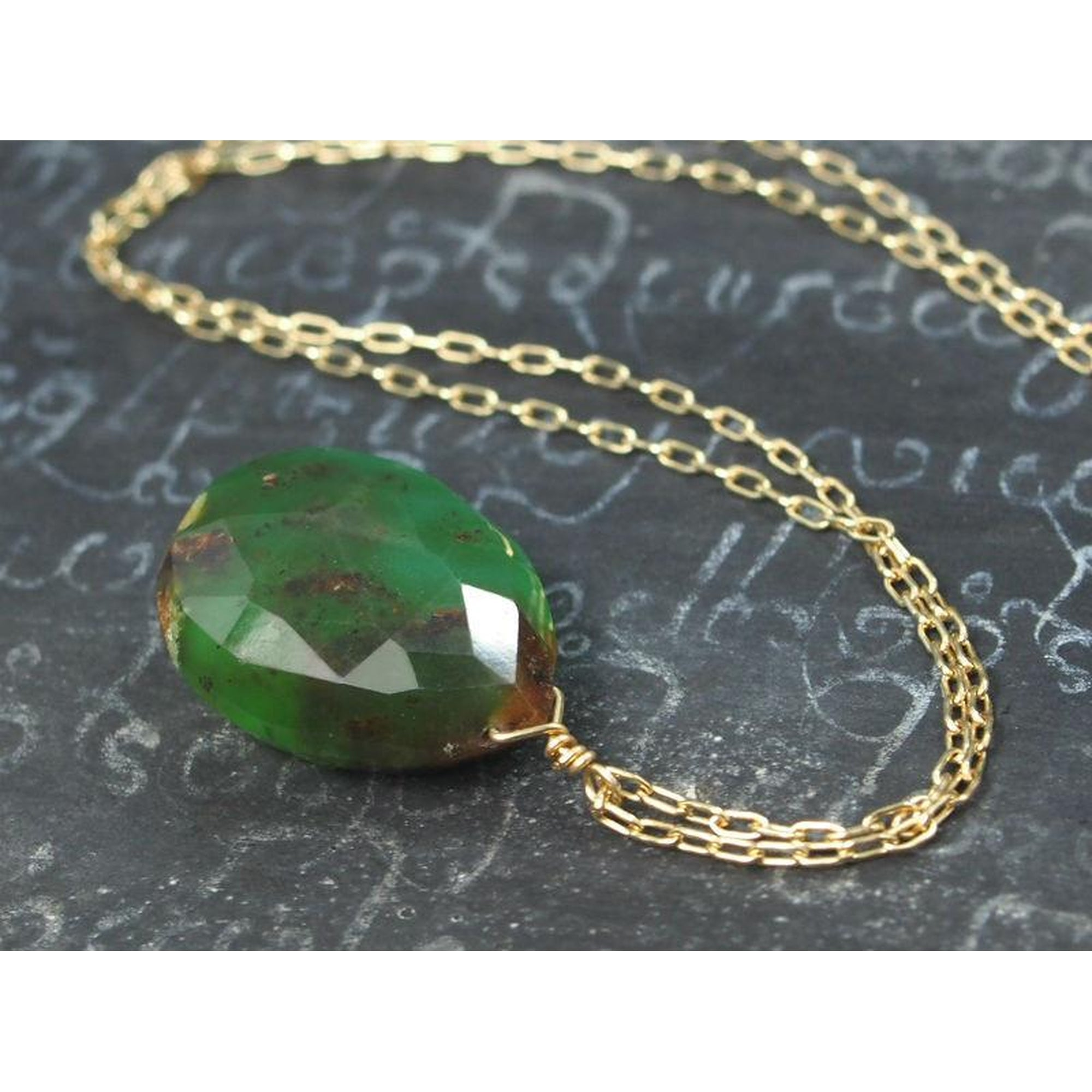 pendant brown silver hammered gemstone sterling and paul by necklace green stone lizardi handmade chrysoprase teardrop bicolor