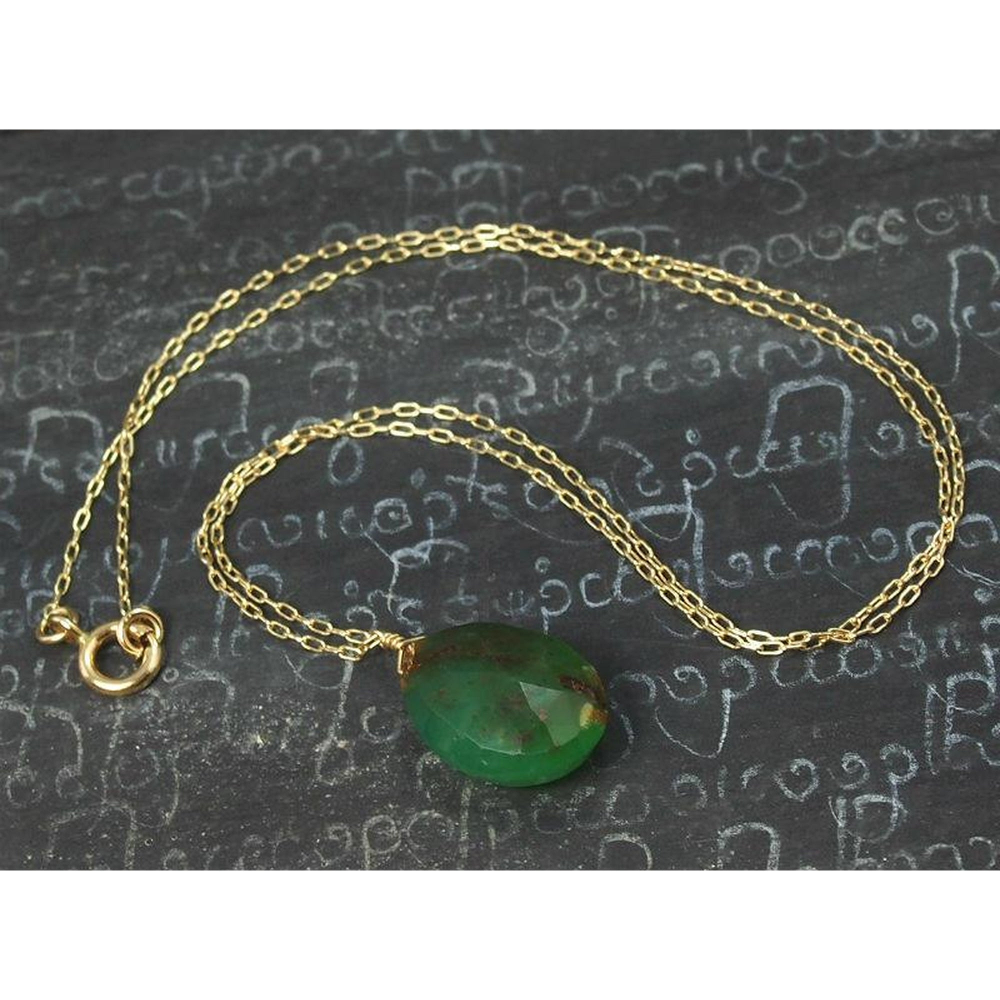 lake filled in gold design green chrysoprase original valltasy the necklace