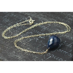 Sapphire Necklace On Sterling Silver Chain With Sterling Silver Spring Clasp