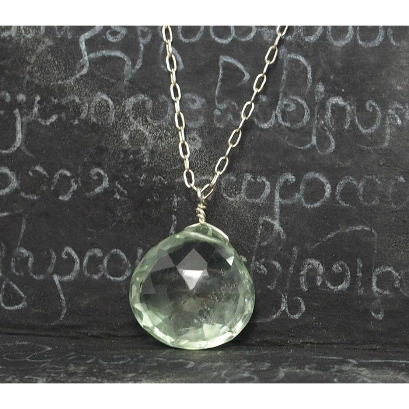 Green Amethyst On Sterling Silver Chain With Sterling Silver Spring Clasp