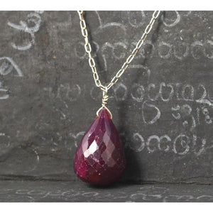 Ruby Necklace On Sterling Silver Chain With Sterling Silver Spring Clasp