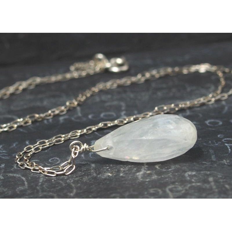 Moonstone Necklace On Sterling Silver Chain With Sterling Silver Spring Clasp 2
