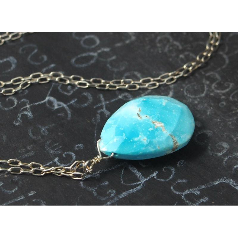 Turquoise Necklace On Sterling Silver Chain With Sterling Silver Spring Clasp 2