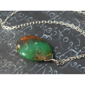 Chrysoprase Necklace On Sterling Silver Chain With Sterling Silver Spring Clasp