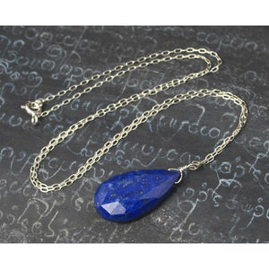 Lapis Lazuli Necklace On Sterling Silver Chain With Sterling Silver Spring Clasp