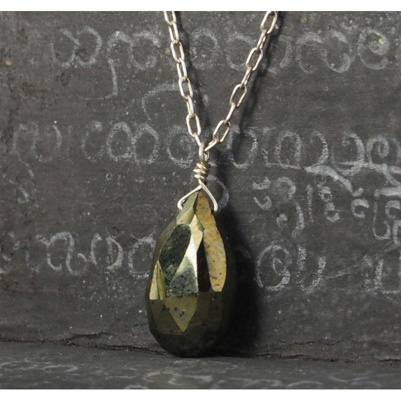Pyrite Necklace On Sterling Silver Chain With Sterling Silver Spring Clasp 2