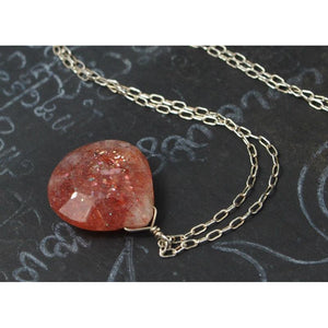 Sunstone Necklace On Sterling Silver Chain With Sterling Silver Spring Clasp