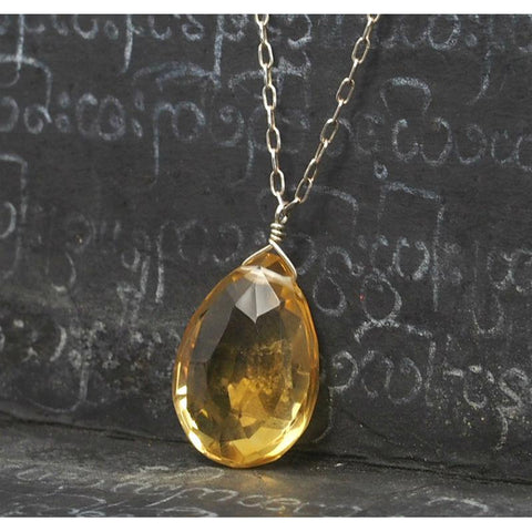 Citrine Necklace On Sterling Silver Chain With Sterling Silver Spring Clasp