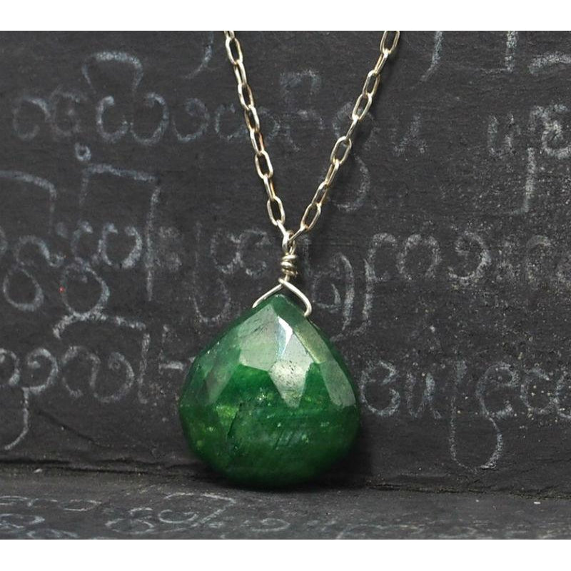 Emerald Necklace On Sterling Silver Chain With Sterling Silver Spring Clasp 2