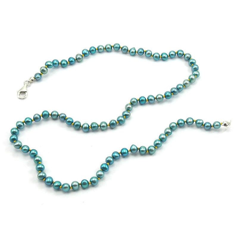Fresh Water Pearl Knotted Necklace With Sterling Silver Trigger Clasp