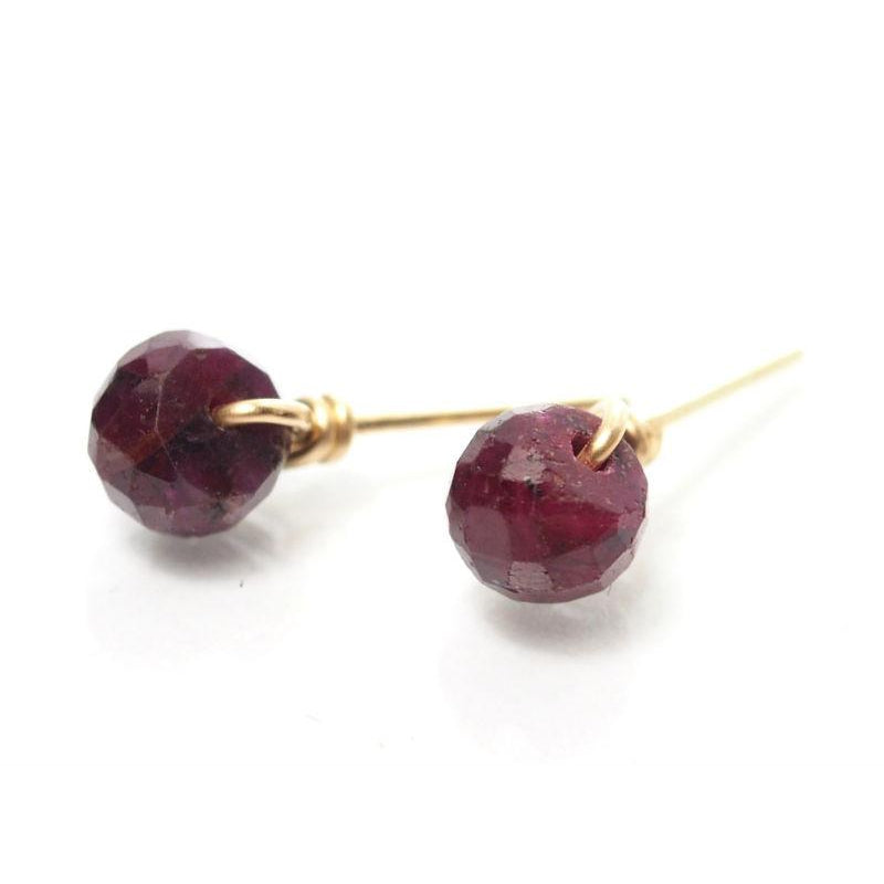 Ruby Stud Earrings with Gold Filled Ear Wire