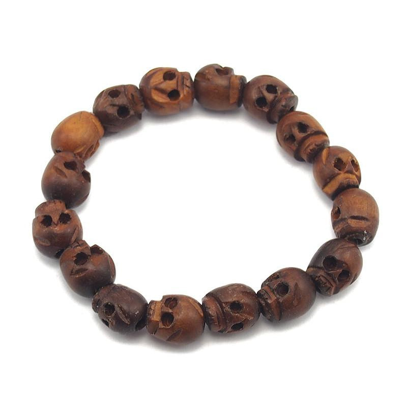"Skull Beads Hand Carved Wooden ""Momento Mori"" Stretch Bracelet 5"