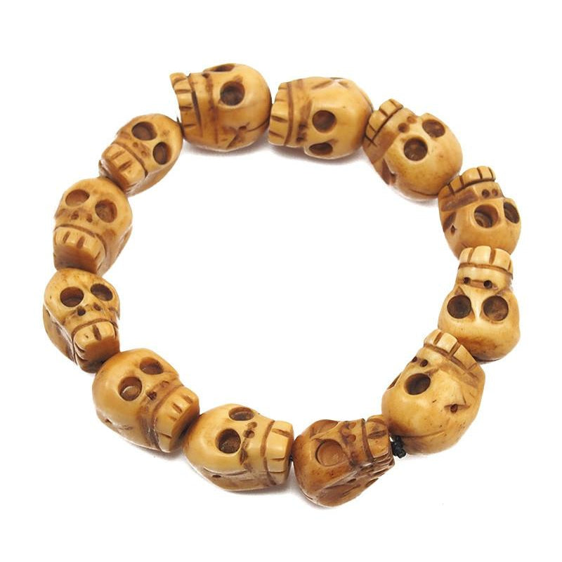 "Skull Beads Hand Carved Bone ""Momento Mori"" Stretch Bracelet 2"