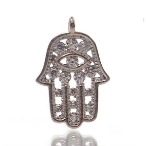 Sterling Silver Hamsa with Cubic Zirconia